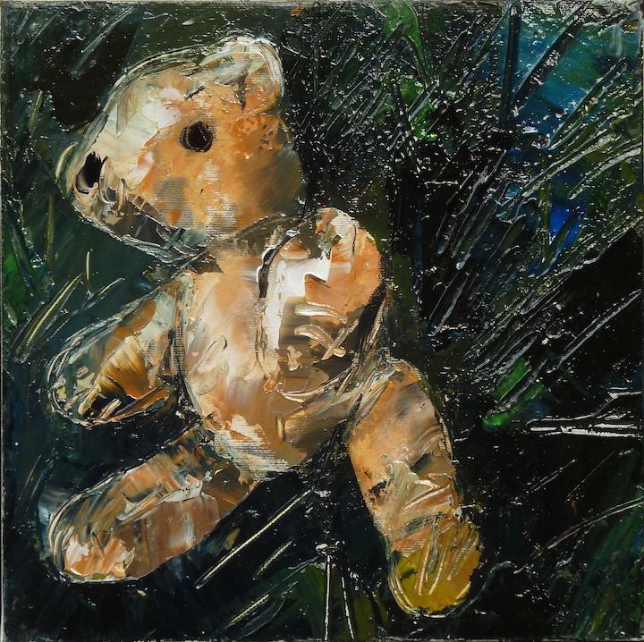 Teddy Bear n. 25. Acrilico su tela 2017, 30x30