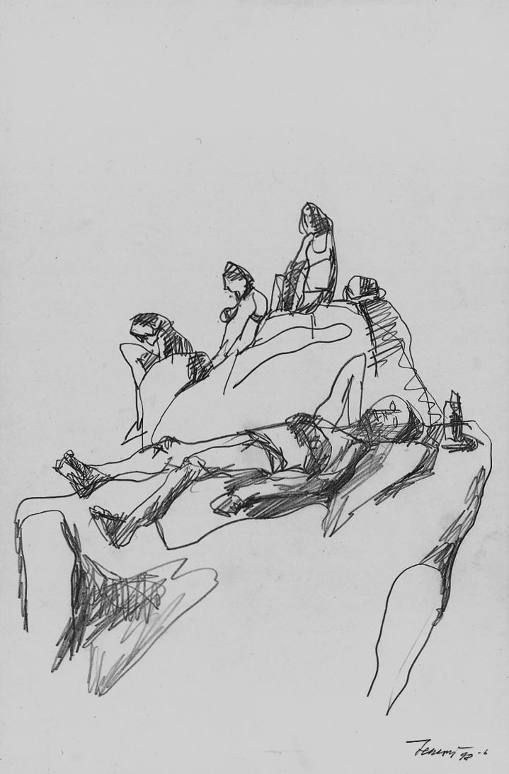 Bagnanti sulle rocce 1, 1998. Disegno a matita 30x19,6