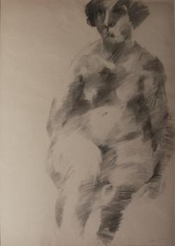 Nudo, 1964. Disegno a carbone 69x48