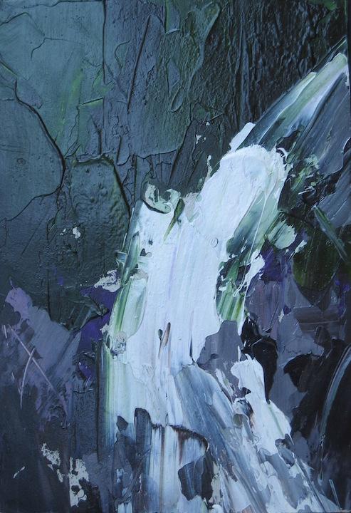 Cascatella VI 2005. Acrilico su cartone 29,7x21