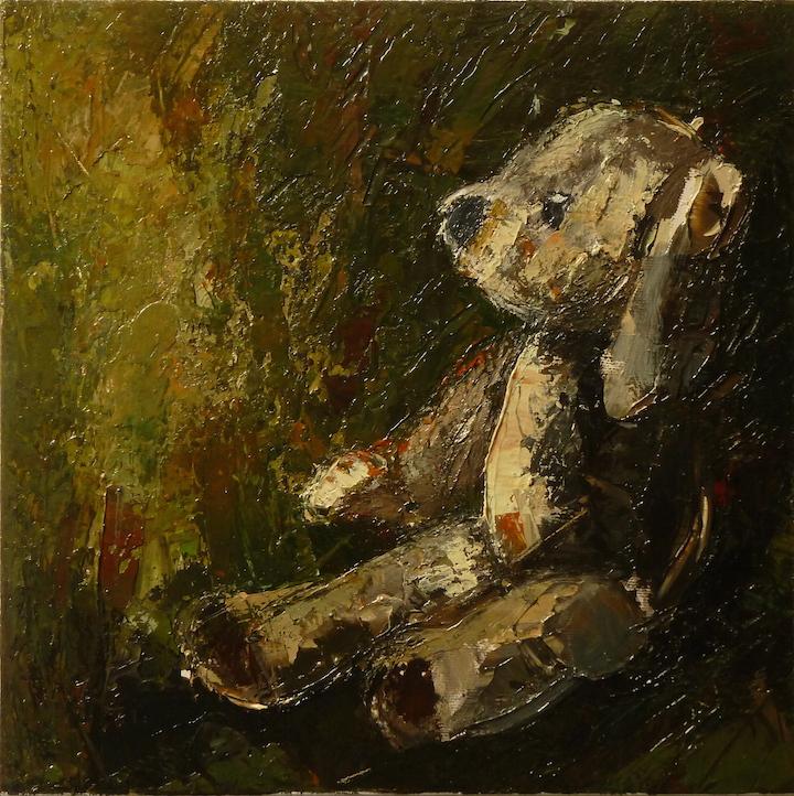 Teddy bear n. 11. Acrilico su tela 2016, 30x30