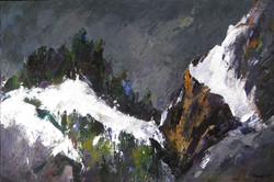 Ridisegnate dal bianco (Passo Sella) 2008. Acrilico su tela 80x120