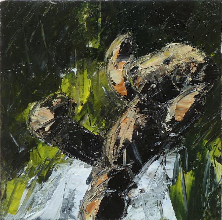 Teddy Bear n. 17. Acrilico su tela 2016, 30x30