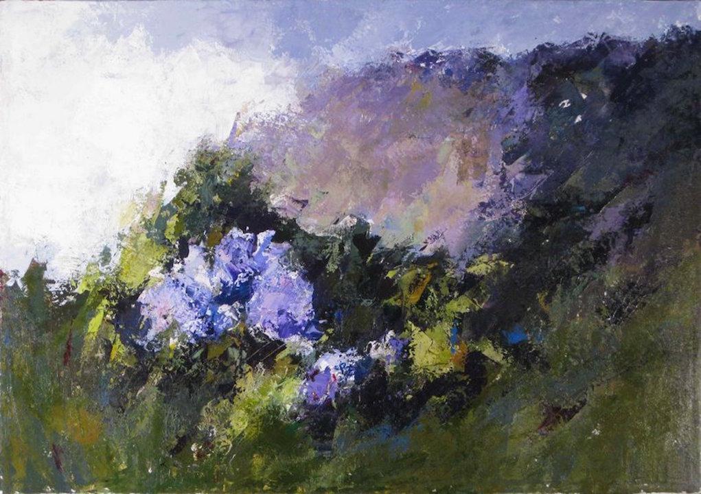 Ortensie, vallata 2009. Acrilico su tela 70x100