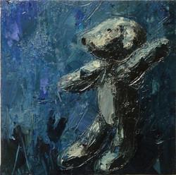 Teddy bear n. 15. Acrilico su tela 2016, 30x30