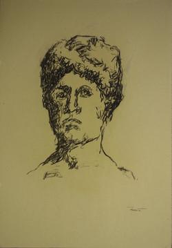 Autoritratto classico, 1991. Matita su carta giallina 50x35