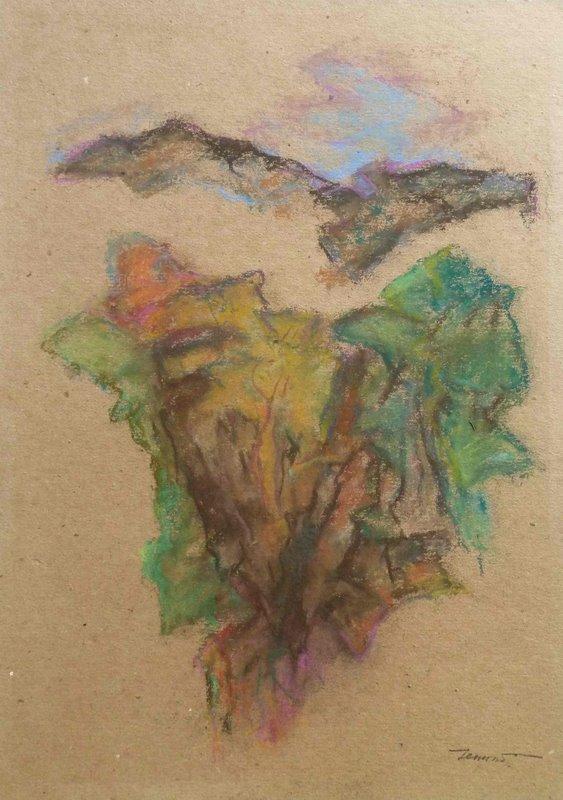 Calanchi in Abruzzo 1997. Pastello su carta  42x29,7