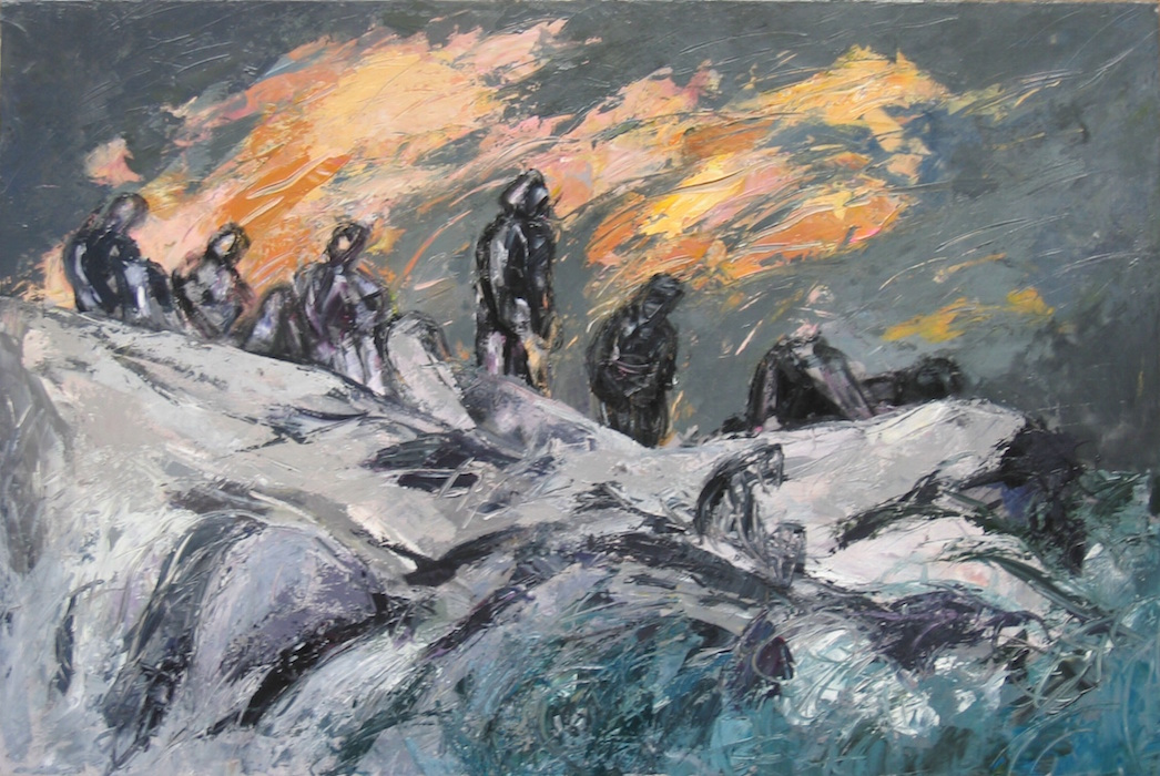 Bagnanti sulle rocce al tramonto I 2007 acr su tela 80x120 PV07