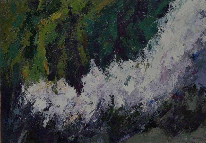 Krimmler Wasserfallen 2004 acrilico su tela 70x100