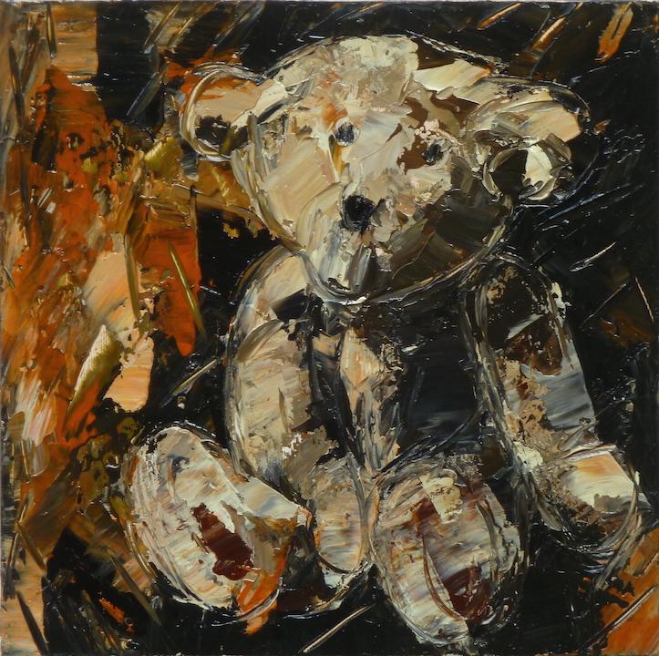 Teddy Bear n. 18. Acrilico su tela 2016, 30x30