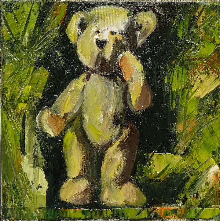 Teddy Bear n. 34. Acrilico su tela 2017, 30x30