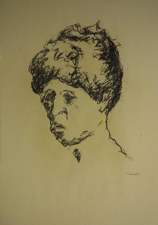Autoritratto triste, 1991. Carbone su carta giallina 50x35