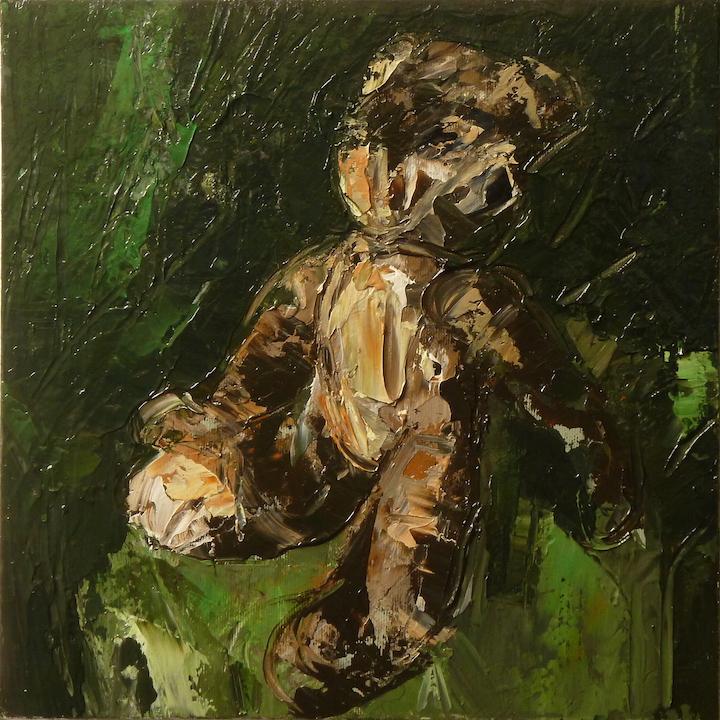 Teddy bear n. 7. Acrilico su tela 2016, 30x30