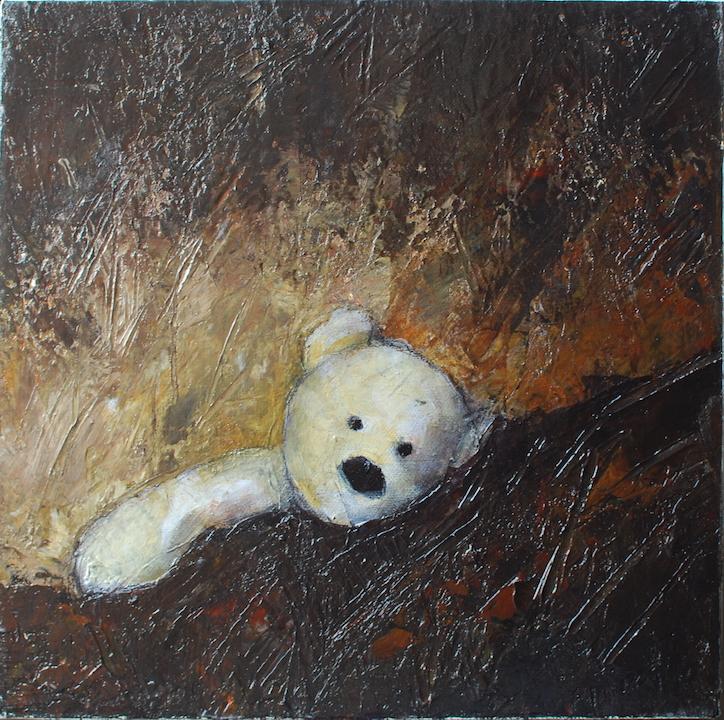 Teddy Bear n. 38. Acrilico su tela 2017, 30x30