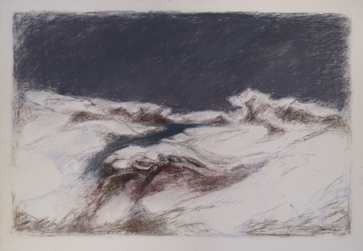 Lanca sotto la neve 1986. Pastello su carta 70x100