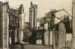 Suburbio d Londra 1959. Disegno a Conté 35x50