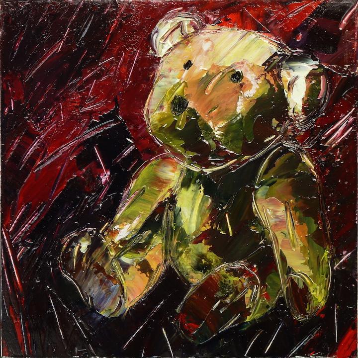 Teddy Bear n. 28. Acrilico su tela 2017, 30x30