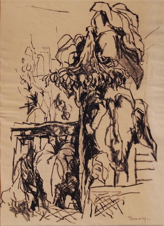 Girasole 1962. Disegno a Conté 50x35