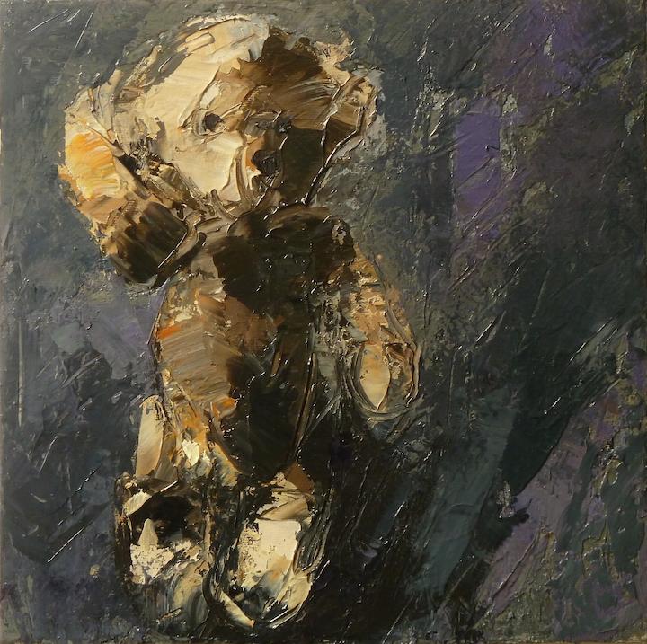 Teddy bear n. 9. Acrilico su tela 2016, 30x30