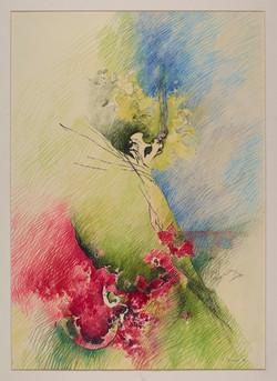 Azalee verso il bosco 1973, Pastello su carta 70x50