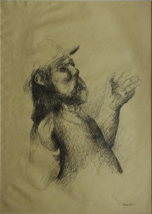 Attore 02, 1999. Disegno a matita su carta giallina 70x50