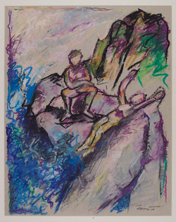 Bagnanti sulle rocce 2007. Pastello a olio 49x39