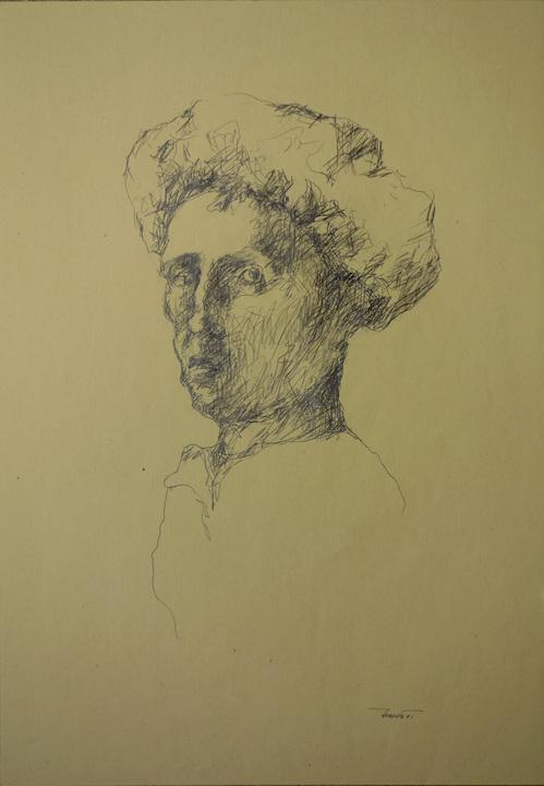 Autoritratto con la cuffia, 1991. Matita su carta giallina 50x35
