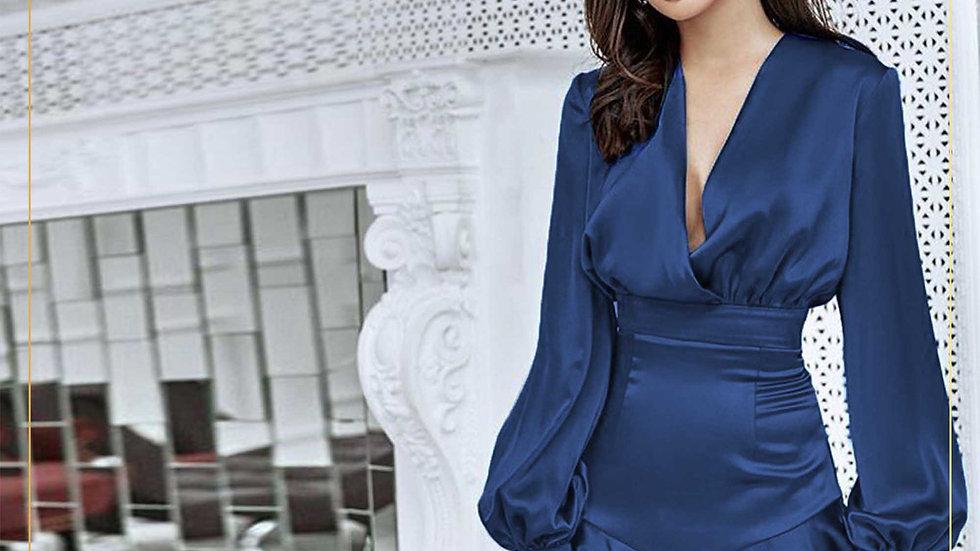 Mini Dress Murah Satin Ruffle Lengan Panjang Wanita Feminim (Dress A1)