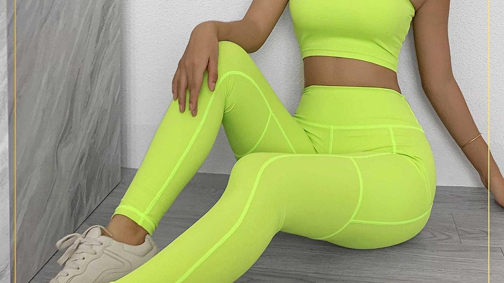 Setelan Olahraga Legging Zumba Gym Fitnes Top XY Yoga aerobik (Set B6)