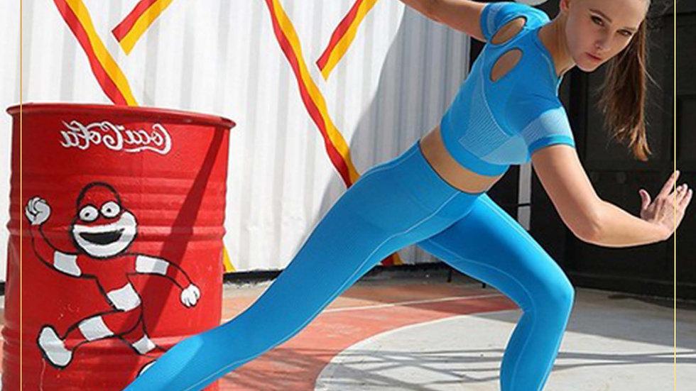 Setelan Olahraga Wanita Croptop Celana Panjang Spandex Katun (Set Y)