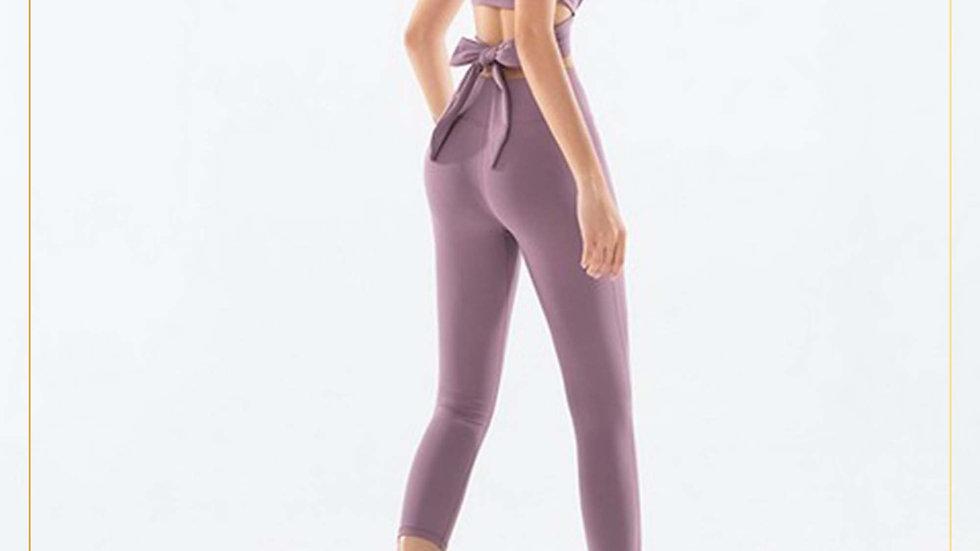 Setelan Olahraga Wanita Yoga Sexy Fitness Gym Spandex Cotton (Set Q)