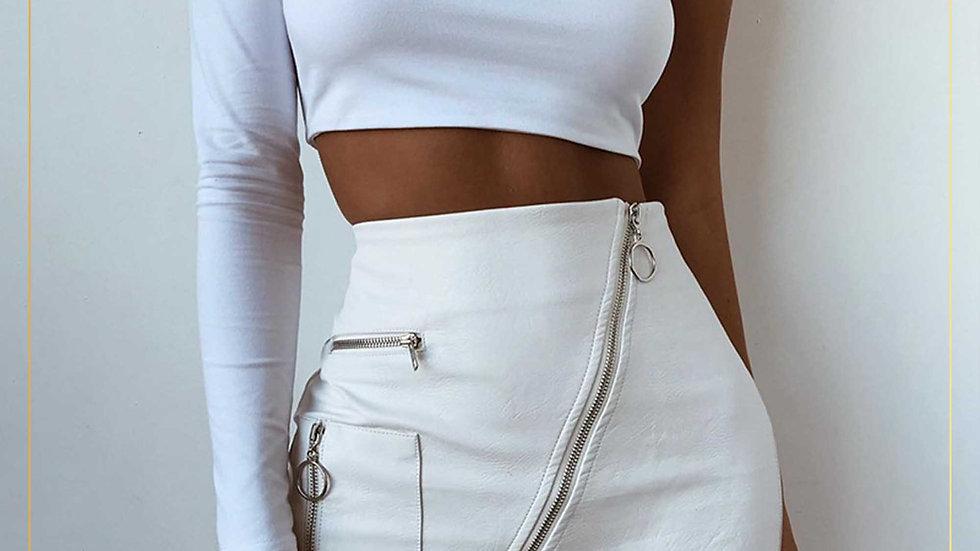 Rok mini span wanita kulit faux leather warna putih casual (Skirt A)