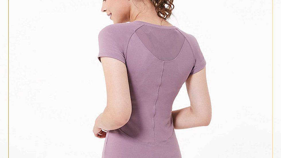 Baselayer atasan olahraga wanita lengan pendek katun Spande (Outer E)