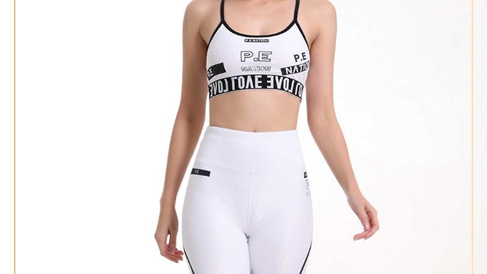 Setelan Olahraga Celana Selutut Dan Top Bra Keren Putih Hitam(SET A16)