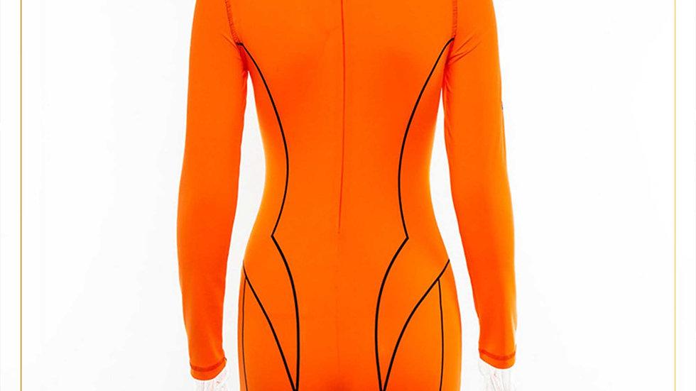 Jumpsuit Wanita Lengan Panjang dan Celana 3/4 Spandex (Jumpsuit C)