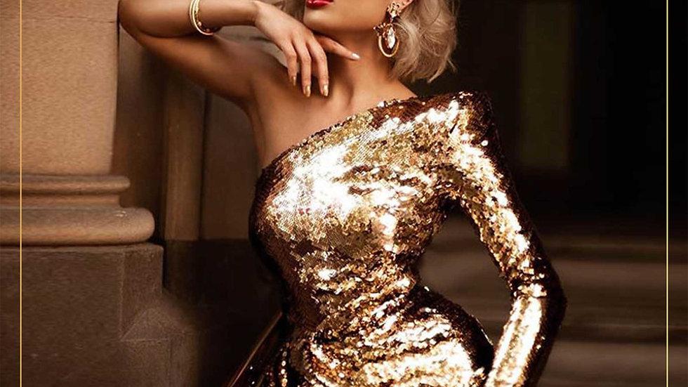 Dress Pesta Mini Skirt Elegant Design Import Lengan Panjang (Dress L)