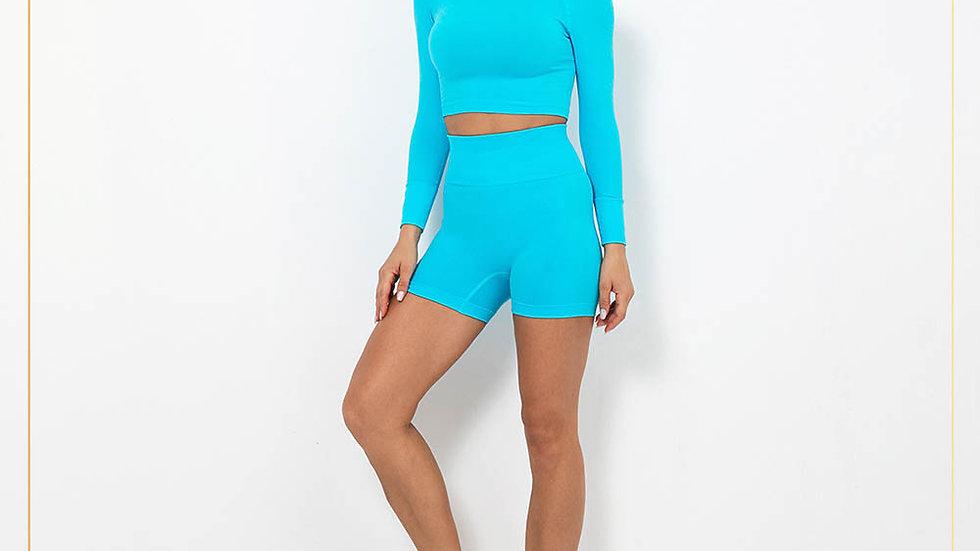 Setelan Olahraga Wanita Lengan Panjang Celana Selutut fitness gym (Set B15)