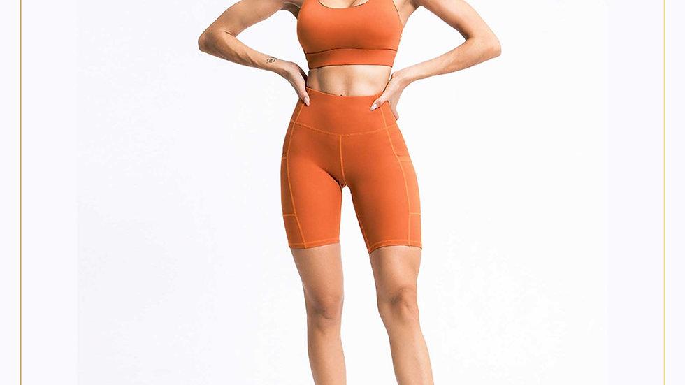 Setelan baju olahraga Wanita Bra & Celana Atas lutut Cantik (Set A13)