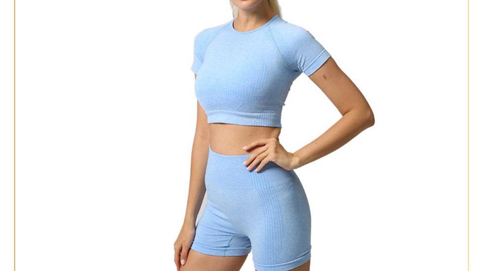Setelan Olahraga Wanita Fitness Gym Zumba Crop & Celana Pendek Set A15
