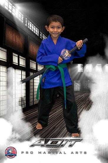 Adit with weapon in dojo