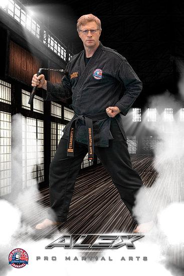 Alex with weapon in dojo