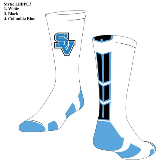 SVJuniorFootball-White Custom Socks