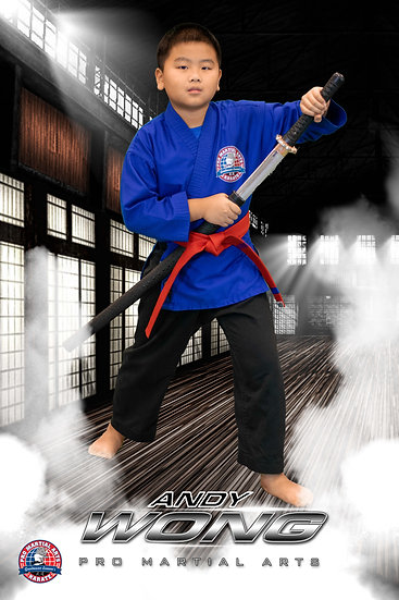 Andy Wong with weapon in dojo