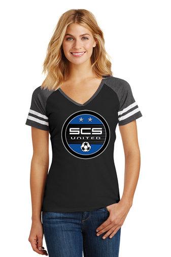 SCS-Women's District Gameday V-Neck Shirt-Round Logo