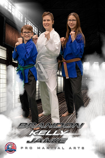 Brandon, Kelly and Jamie technique picture in dojo