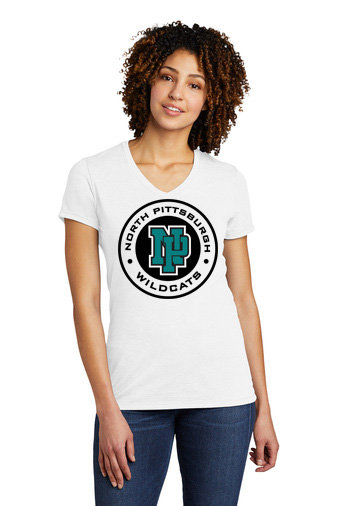 NP Wildcats-Women's Allmade Recycled V-Neck Shirt-Wildcat Round Lo