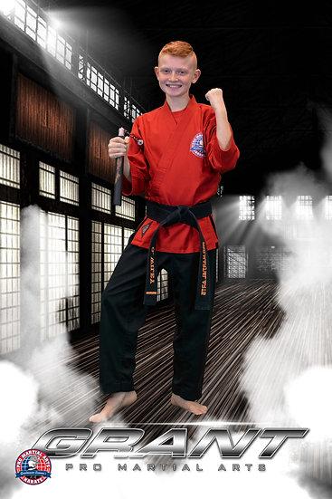 Grant with weapon in dojo