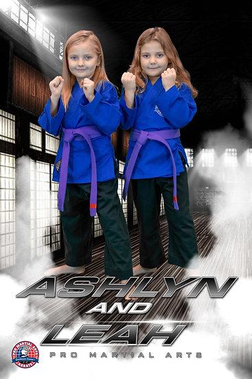 Ashlyn and Leah in dojo