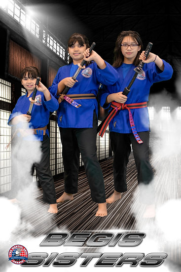 Begis sisters with weapon in dojo