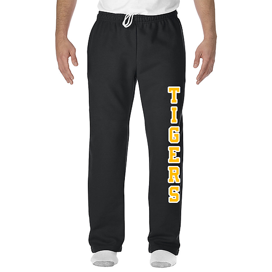 Black Open Bottom Sweatpants with Pockets